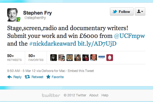 Stephen Fry Tweeting about The Nick Darke Award following Competition Agency PR Activity